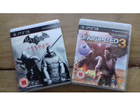 Two PS3 games: Batman: Arkham City and Uncharted3: Drakes Deception