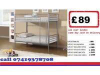 single metal bunk split in 2 single Frame available , Bedding