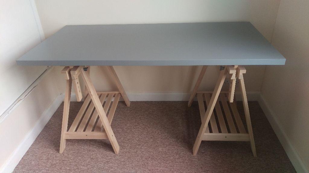 Ikea linnmon finnvard grey desk with beech trestles 150x75cm in