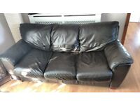 Brown leather sofa set. 3 seater + 2 seater +foot stool £125