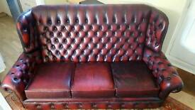 Vintage leather sofa Chesterfield dark vine 3 seaters