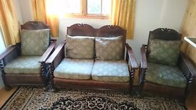 Bergere sofa and two chairs