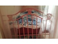 Butterfly pink princess metal four poster bed frame with curtains