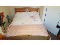Hardly used Solid wooden bed. Double!!