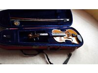 3/4 Violin with case, bow and chin rest. VGC, hardly used. New strings