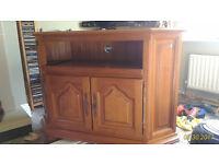 solid wood tv video corner console unit