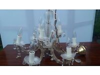 VERY POPULAR French Marie Therese style glass/acrylic and crystal 9 arms chandelier