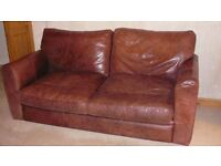 100% Real Rustic Leather Three Seater Sofa