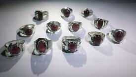 Natural Garnet and Konzite silver rings