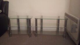 Matching glass and chrome tv stand and 3 tier display unitdis