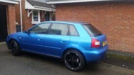 "S3 lookalike, Audi A3 metallic blue wrap, black roof, 18"" gloss black 5 spoke alloys"