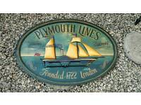 Large wooden shipping sign Plymouth Lines