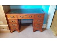 Solid Wood Desk with green leather top