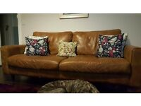 Leather 3 seater sofa and armchair