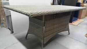 Elba 7T143-18090A-W/GRY 70 Wicker out door Rectangular Dining Table - Cool Grey (Assembled)