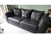 Large brown leather sofa from DFS