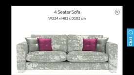 Crushed velvet 4 seater sofa in desier mix silver from sofology