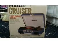 Crosley Cruiser Portable Turntable 3 Speed Blue Collection Only
