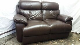 2-seater brown leather reclining sofa