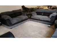 GRADED Large 2 + 2 Seater Grey Fabric and Darker Leather Sofa Suite FREE LOCAL DELIVERY