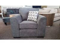 Ex Display Dark Grey Fabric Armchair Can Deliver View Collect Hucknall Nottingham