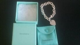 Ladies Genuine Tiffany Heart Tag Bracelet Sterling Silver