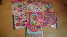 Shopkins book bundle: collectors guide, sticker book,colouring pad/set, unused notebooks & diary.