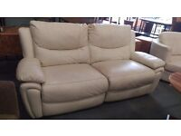 Cream leather electric reclining 2 seater with cuddle chair