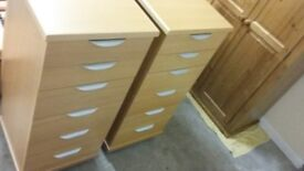 Two 6 drawer tallboy chest of drawers, vgc, beech