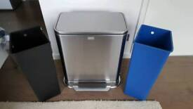 Simplehuman 48 Litre stainless steel recycler pedal bin - AS NEW