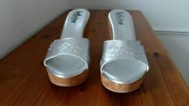 BRAND NEW WOMENS SILVER WEDGE SANDALS