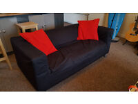 IKEA KLIPPAN TWO SEATER SOFA IN ELEGANT GRANAN BLACK