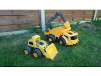 Little tikes dumper truck and caterpillar digger