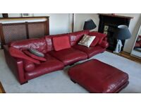 Red Leather Sofa and footstool