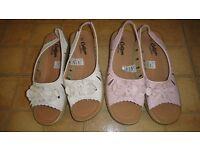 2 LOVELY PAIRS OF COTTON TRADER SANDLES NEW NO TAGS SIZE 8 IN PINK AND WHITE
