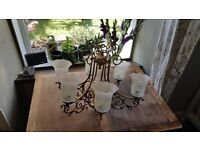Brass Light Fitting - 6 arm Chandelier with Art Nouveau style Shades