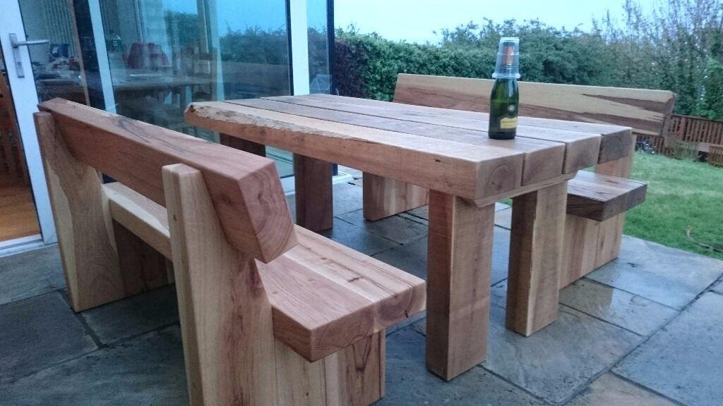 oak table and bench railway sleeper bench set garden sets. Black Bedroom Furniture Sets. Home Design Ideas