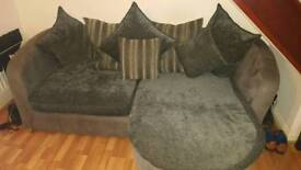 Scatter Back Grey and Suede L Shape Sofa With Swivel Chair And Pouffe