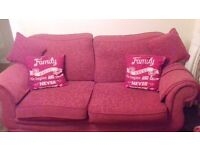 3 piece suite plus footstool, red and in good but used condition.