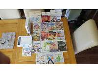 Wii Console & 17 Games with Wii fit board & Draw tablet and Steerring wheels bundle