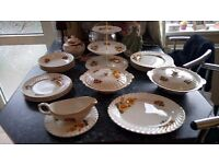 Vintage Dinner service and cake stand, old Foley bone china