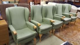 5 X Vintage Green Wingback Chairsin Great Condition