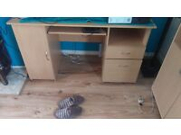 Large beach wood compter desk/office desk. Open to offers. Looking for£20 .