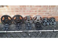 OLYMPICS WEIGHTS SET WITH 7FT OLYMPIC BARBELL