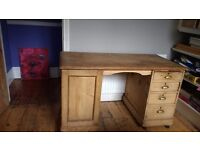 Beautiful solid wood antique desk. Love chunky desk with 4 drawers and cupboard.