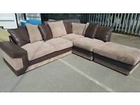 EX DISPLAY Brown Beige Cord Corner Sofa + FOOTSTOOL Delivery Available