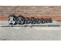 BODYMAX CAST IRON OLYMPIC WEIGHTS SET WITH 7FT or 6FT BAR