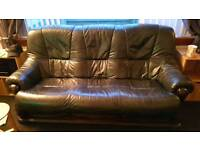 3 seater leather sofa and chair - 50 ono