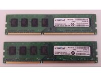 8gb Crucial DDR3 Desktop Computer RAM (2 x 4gb) - Free Delivery!