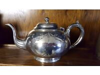 Ornamented Silver-plated Teapot in Good Condition